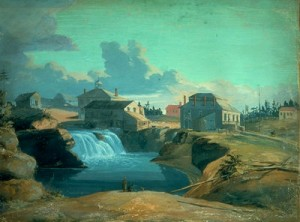 Mill on the Ottawa River A view of the mill and tavern of Philemon Wright on the Ottawa River, Lower Canada, painting by H. Du Vernet, 1823 (courtesy Library and Archives Canada/C-608).