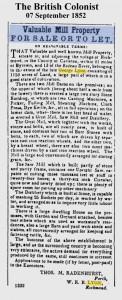 Advertisement  British Colonist September 7 1852