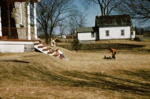 The Hartin children at play around 1960 Note the finely turned porch posts the house in the rear to the east was once close to the road