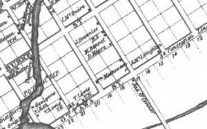 The 3 buildings of George Lyons Estate on the low left corner are lots 18 &19 of Maitland St. 3 blocks east are the tradesmen on McBean in 1863 Walling Map