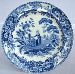 A blue printed Spode plate circa 1820