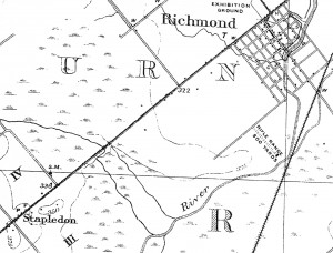 Canadian Northern Railway built 1910 superimposed on the 1908 map of Richmond area